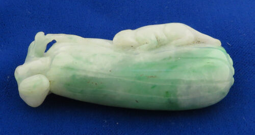 Antique Chinese 19th Century Hand Carved A Jadeite Pendant Form of Melon w/Mouse