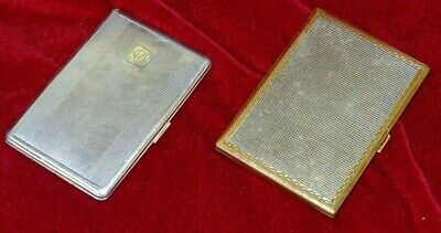 2 Vintage CIGARETTE CASES 1 Prestige gilt ABME Swiss Made, 1 everyday-type.