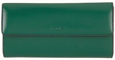 LODIS Audrey RFID Leather CHECKBOOK Clutch WALLET Ivy Green/Plum $122 NWT + Box! Lodis Audrey Clutch Wallet