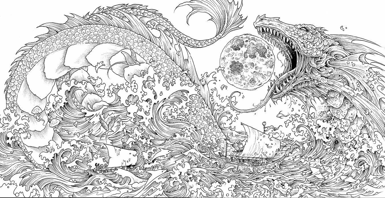 6 Of 10 Mythomorphia Adult Colouring Book Creative Art Therapy Dragons Fantasy Monsters 7