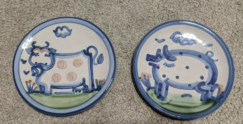 """M.A. Hadley Handmade Pottery 6"""" Plate Set Cow & Pig Great Condition"""