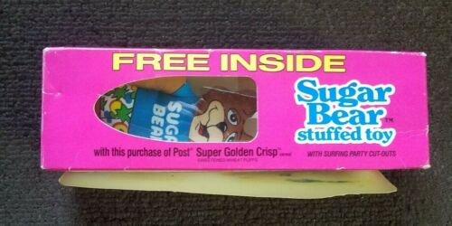 1987 Post Super Golden Crisp Sugar Bear Stuffed Toy Cereal Premium