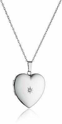 14k Gold Diamond Heart Locket (14k White Gold Diamond-Accent Heart Locket,)