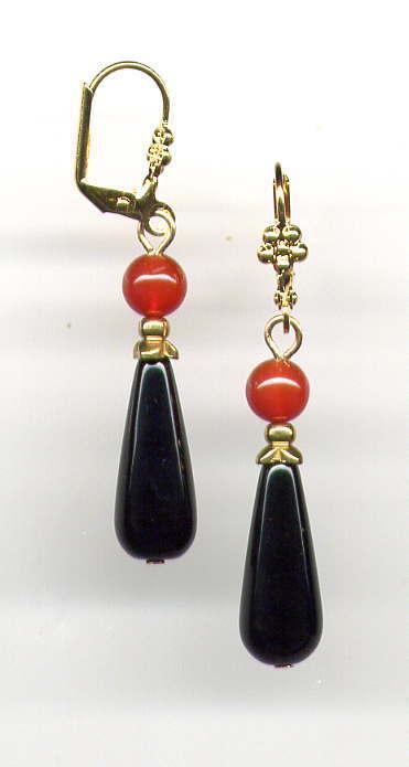 GENUINE ONYX BRIOLETTE Teardrop CARNELIAN EARRINGS 14K Gold gp *Victorian Style