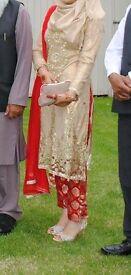 asian pakistani red and gold dress