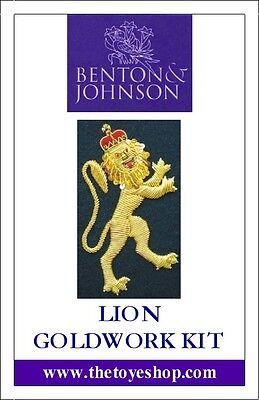 Benton & Johnson - Lion Goldwork Kit - New/contains metal threads/felt