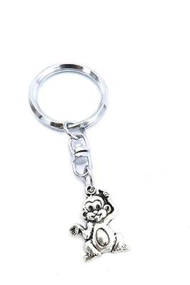 Affen Schlüsselanhänger Tier silberfarben