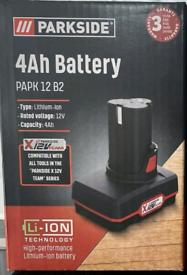 Parkside 12V 4Ah Battery, Fits All X12V Team Series Tools