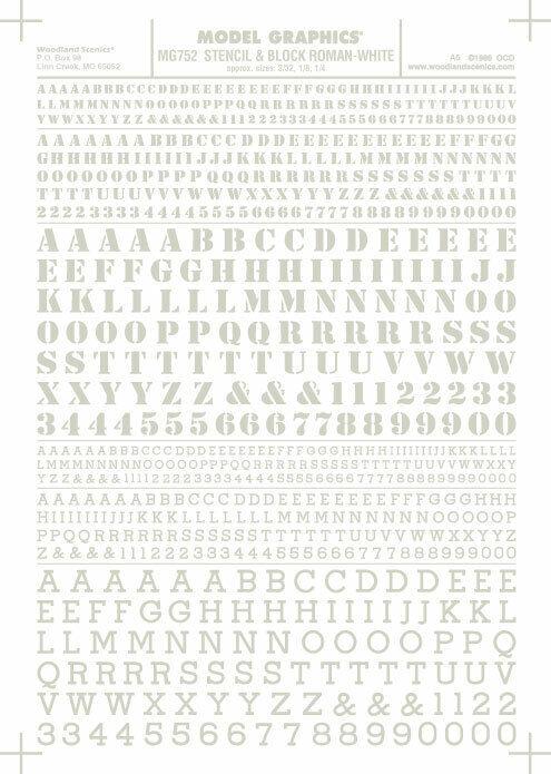 Woodland Scenics Roman Stencil/Block Letters White MG752