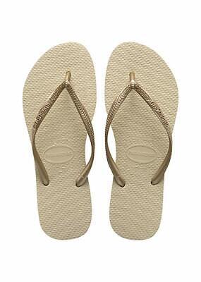 Havaianas Women's Slim Flip Flop Sandal, Sand Grey/Light Golden