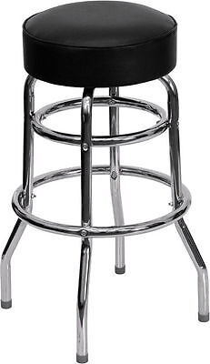 Retro Black Metal Bar Stools Chrome Swivel Double Ring Restaurant Backless