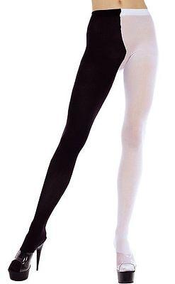 Schwarz und Weiß 2 Ton Hofnarr Strumpfhose Sexy Verkleidung Kostümparty (Schwarz Und Weiß Kostüm Party)