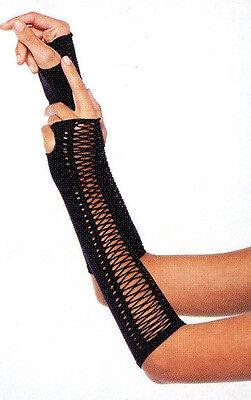 LA 2148 Women Gloves Fingerless Faux Lace-Up Steampunk Arm Warmers Elbow Black - Black Arm Warmers