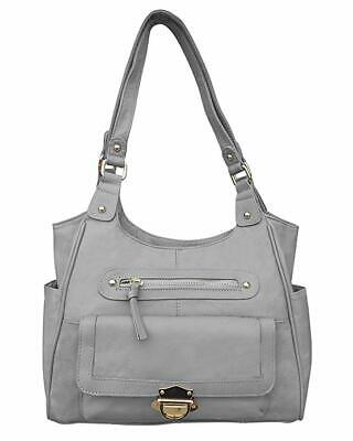 Concealed Carry Gun Purse  Twist Lock Pocket Crossbody Bag by Roma Leathers Gray ()