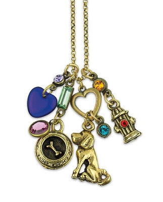 NEW ANNE KOPLIK DOG LOVER SWAROVSKI CRYSTAL CHARM NECKLACE  ~~MADE IN USA~~  ()