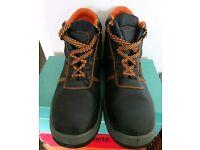 Chocolate brown w/orange stitch work safety boots 12/13 UK.
