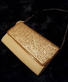 Brand new white and gold glitter bag