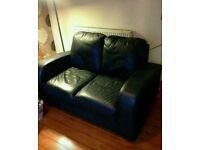 Genuine italian leather black 2 seater sofa