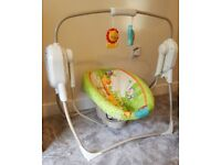 Fisher price space saver cradle n swing rainforest friends