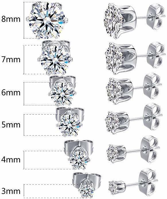3mm-8mm Cubic Zirconia Ear Stud Earrings