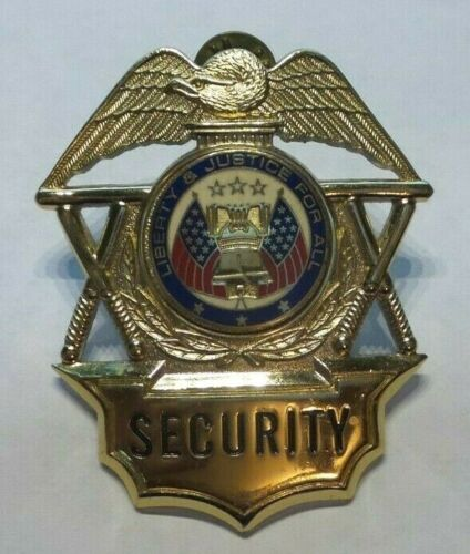 VINTAGE SECURITY OFFICER LIBERTY AND JUSTICE FOR ALL HAT CAP BADGE HERO