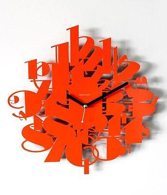 Modern Number Wall Clock Steel Home Decor Clock Unique Design Interior Orange