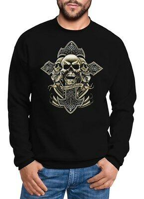 Sweatshirt Herren Kreuz mit Totenkopf Cross Skulls Rundhals-Pullover Neverless® (Cross Sweatshirt Herren)