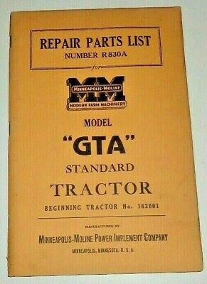 Minneapolis Moline Standard Gta Tractor Repair Parts List Manual Book Catalog
