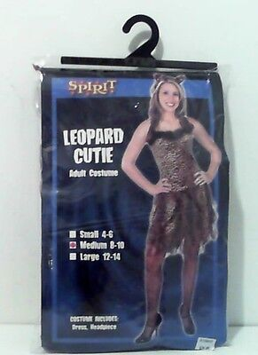 Halloween Leopard Ears And Tail (WOMEN'S LEOPARD CUTIE ADULT COSTUME ~ SIZE MEDIUM 8/10 - ADDED TAIL AND)