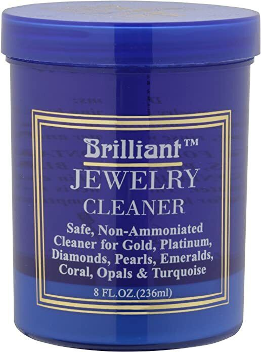 Brilliant 8oz Safe Jewelry Cleaner w/ Cleaning Basket & Brush – Gold Platinum