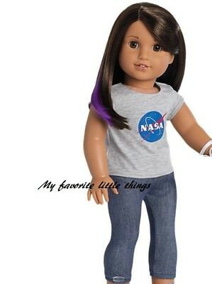 American Girl Luciana Gray Space Nasa T Shirt Top Leggings Pants 18  Dolls New