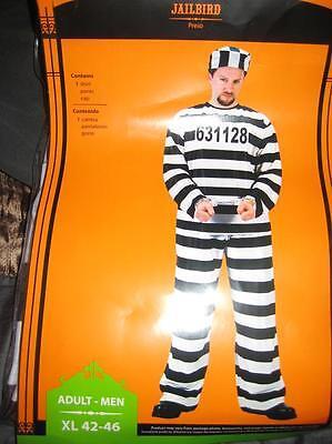 Jailbird Criminal XL 42-46 Adult Men's Halloween Striped Costume pants shirt cap