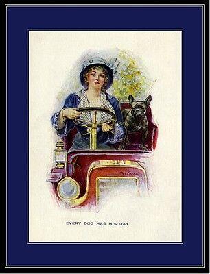 English Print French Bulldog Dog & Lady Art Picture