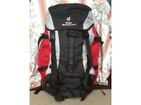 Red Deuter Air Compact 55 + 10 litre Back Pack..