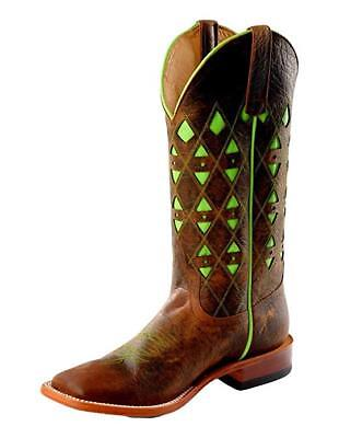 Horse Power Men's HP1783 Pull-On Leather Western Boots Toast Bison/Lime Green - Lime Green Boots