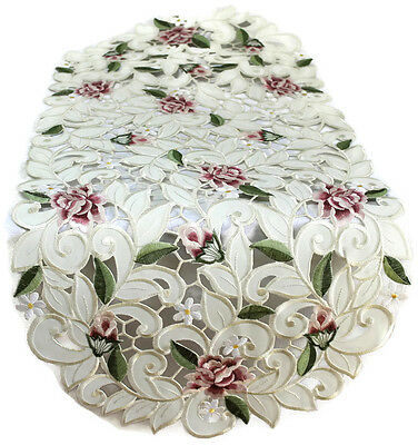 Doily Boutique Table Runner, Doily, Mantel Scarf with Pink Cut Work Roses