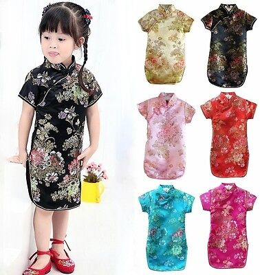 Chinese New Year Costumes (Girls Chinese New Year Dress Qipao Cheongsam Peonies Floral Satin Costume Party)