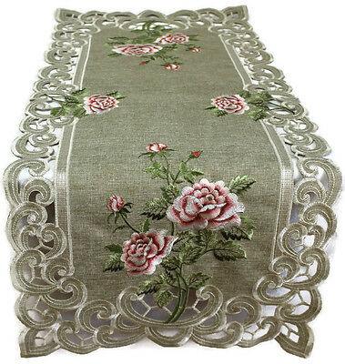 Doily Boutique Table Runner, Doily, Mantel Scarf with Pink Rose on Green Burlap