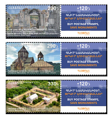 Armenia MNH** 2021 Historical Cultural Monuments Artsakh Amaras Mi 1218-1220