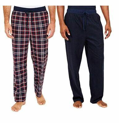 Nautica Mens Sueded Fleece Pajama 2 Pack Plaid Pants Comfort Waist Sleepwear NWT