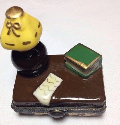 Tiny Limoges STYLE hinged box study/graduation theme; add gift card or check (Graduation Gift Card Box)
