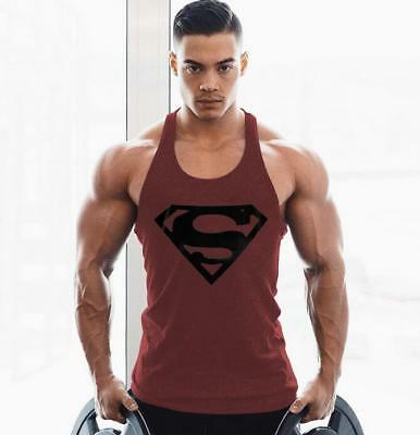 Men Bodybuilding Tank Top Muscle T-Shirt Gym Fitness Stringer  Superman Shirts Cotton Stringer Tank Top