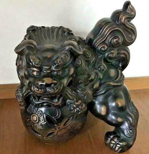Japanese Antique Bronze Statues Shishi Lion Sculpture Okimono Figurine Japan 5