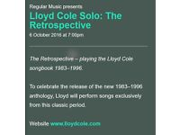 Lloyd Cole Ticket Queens Hall Edinburgh 6th October 2016