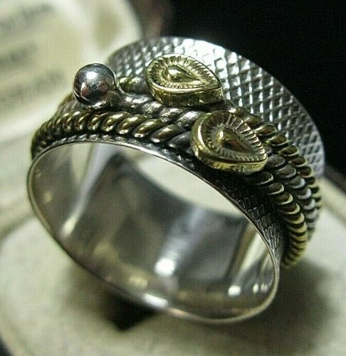 Sterling Silver & 14ct Gold Spinner Spinning Worry Stress Band Ring Size S 9