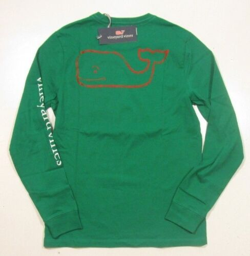Vineyard Vines Boys Green Meadow Two Tone Vintage Whale Long Sleeve Pocket Shirt
