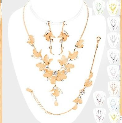 - Crystal Rhinestone Evening Wedding Diamond Necklace Set Floral Flower Leaf Petal