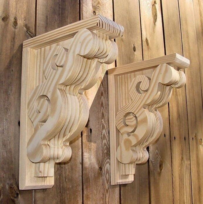 Купить PAIR of Victorian Design Wood Corbels Shelf Mantle Brackets  8 x 11-1/2 (#6108)