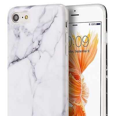 iPhone 7 / 8 (4.7 inch) - Hard TPU Gummy Rubber Case Cover White Marble Pattern