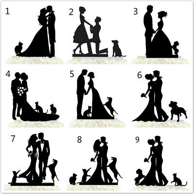 Bride And Groom Family Wedding Cake Topper Funny Couple With Dogs Cats Love Gift - Bride Dog